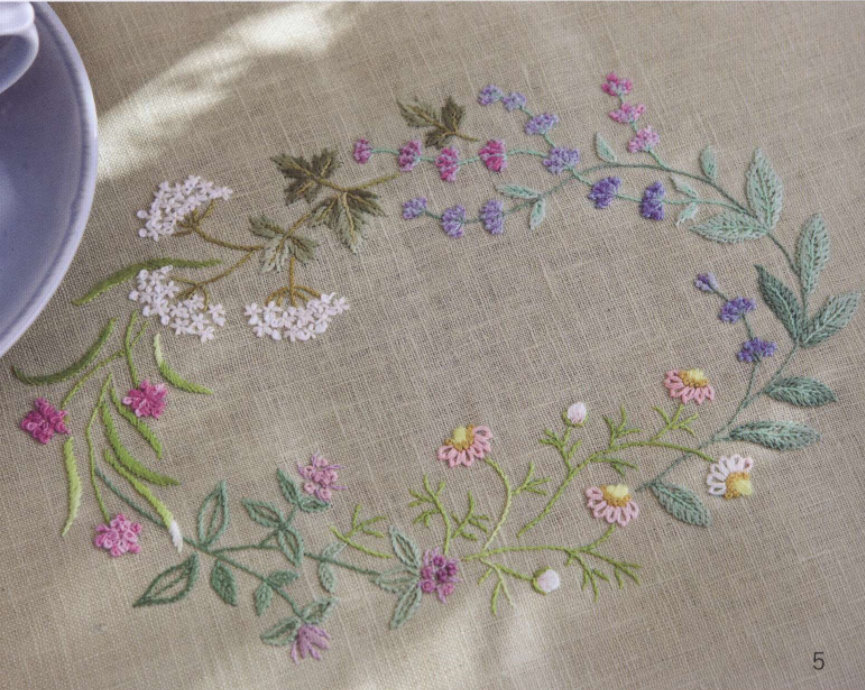 Herb Embroidery on Linen, Sadako Totsuka, лаконичная вышивка