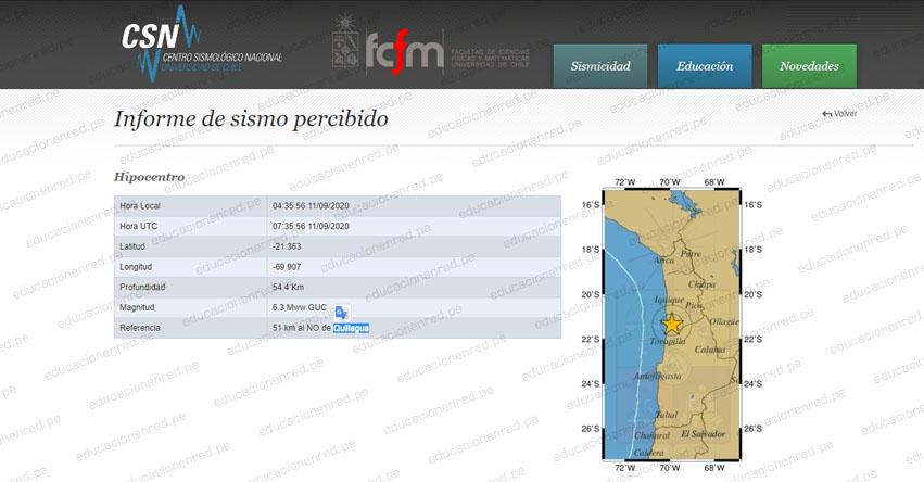 Terremoto en Chile de Magnitud 6.3 y Alerta de Tsunami (Hoy Viernes 11 Septiembre 2020) Sismo Temblor Epicentro - Quillagua - Antofagasta - ONEMI