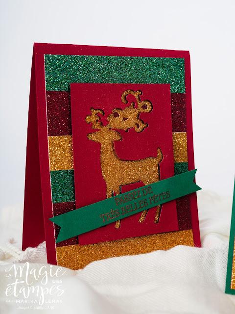 Cartes de Noël Stampin' Up! faite avec les papiers scintillants et le lot Renne fringant