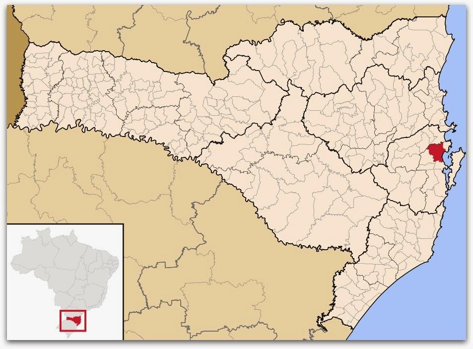 Cidade de Biguaçu, no mapa de Santa Catarina