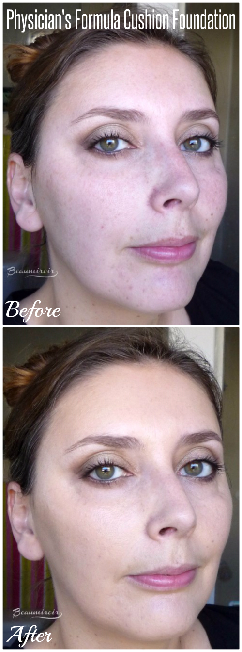 Physicians Before-After picture of Physicians Formula Mineral Wear Cushion Foundation in Light