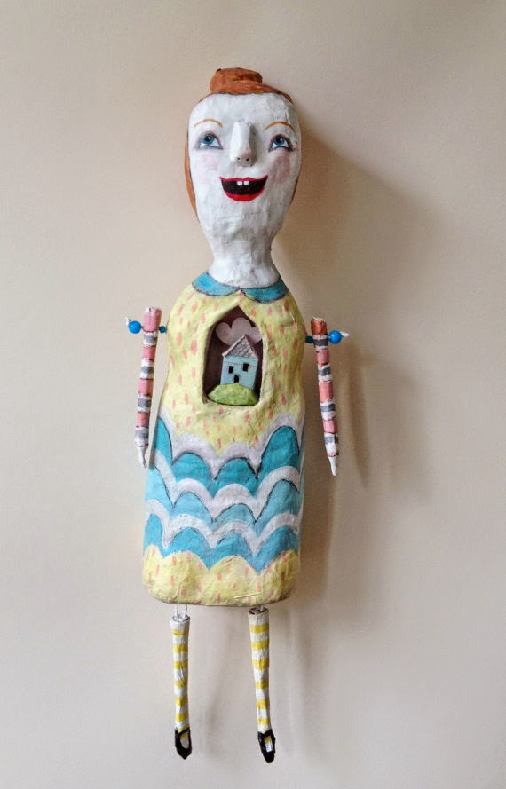 paper mache, mixed media, Hearts and Needles, Etsy, Sarah Hand