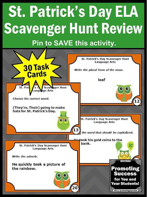st patricks day language arts ELA activities task cards