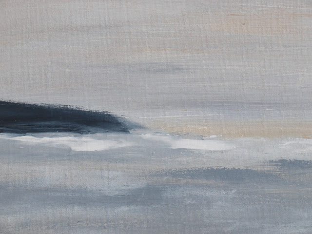 Abstract seascape in light blue grey tones by Hello Lovely Studio