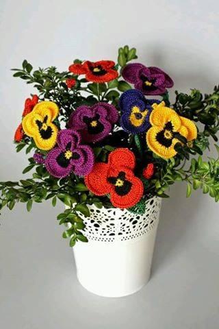 Patrón #1600: Flores a Crochet