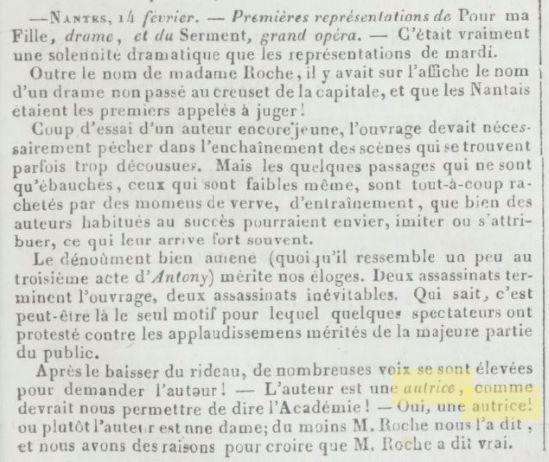 """Gazette des Théâtres 1836 """"autrice"""""""