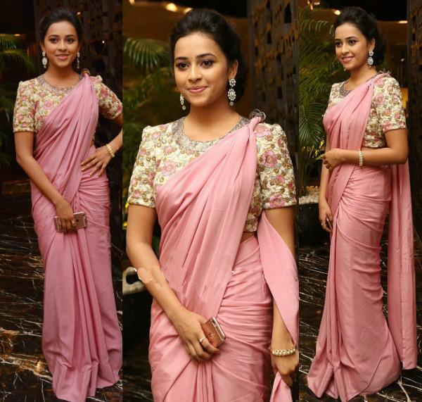 Sri Divya in Pink Plain Saree and Designer Blouse