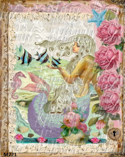 french cottage mermaid fabric roses