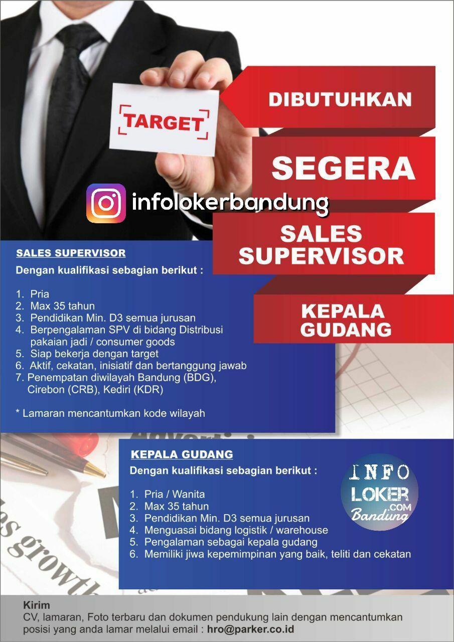 Lowongan Kerja Kepala Gudang & Sales Supervisor Bandung Desember 2017