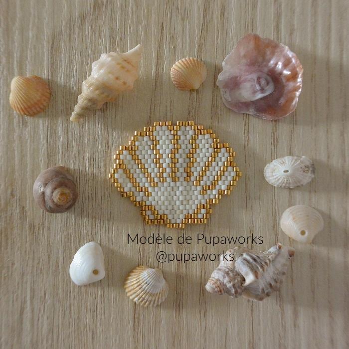 coquillage pupa works, tissage brickstitch, perles delicas miyuki, hellocestmarine
