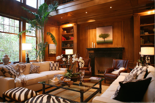Walnut paneled library in traditional home designed by Steve Giannetti