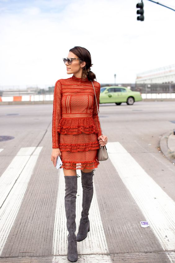 Hello Fashion, Self Portrait Lace Dress, Celine Bag, Stuart Weitzman Grey Suede Over the Knee Boots