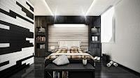 Foto de moderno dormitorio gris