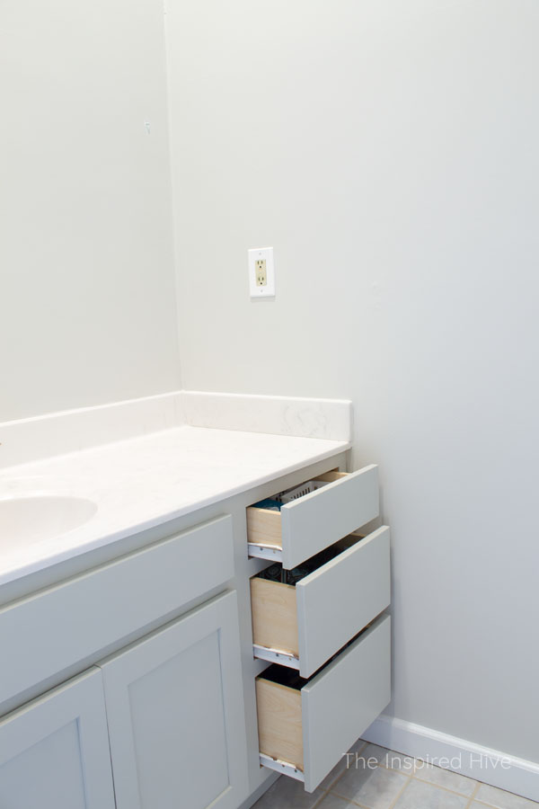 SW Mindful Gray on bathroom vanity cabinets