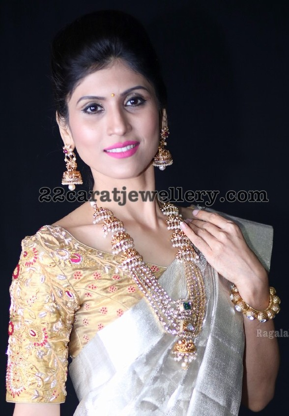Pearls and Pachi Jhumka Style Long Set