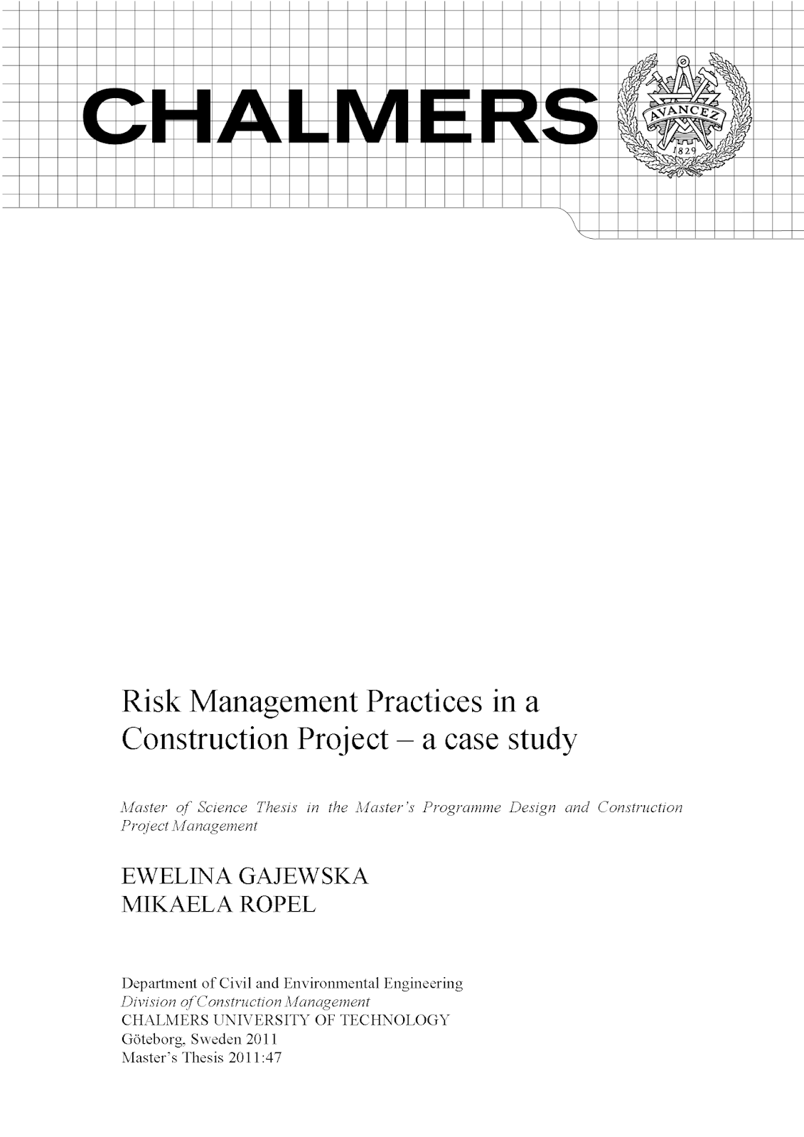 Risk Management Practices in a Construction Project