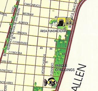 Área Fundacional e Acuario Municipal de Mendoza (Mapa Turístico)
