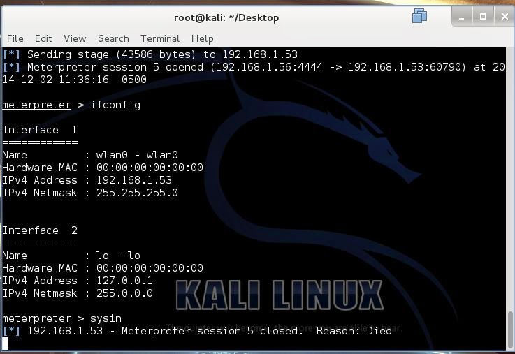 HCAK: Hacking an android phone with Metasploit