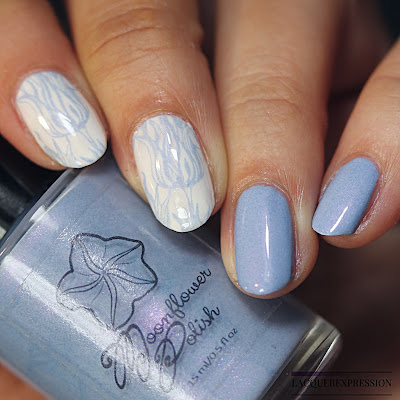 Swatches of a periwinkle blue stamping nail polish with pink shimmer by Moonflower Polish for the Le Petite Indies Spring It On! collaboration box