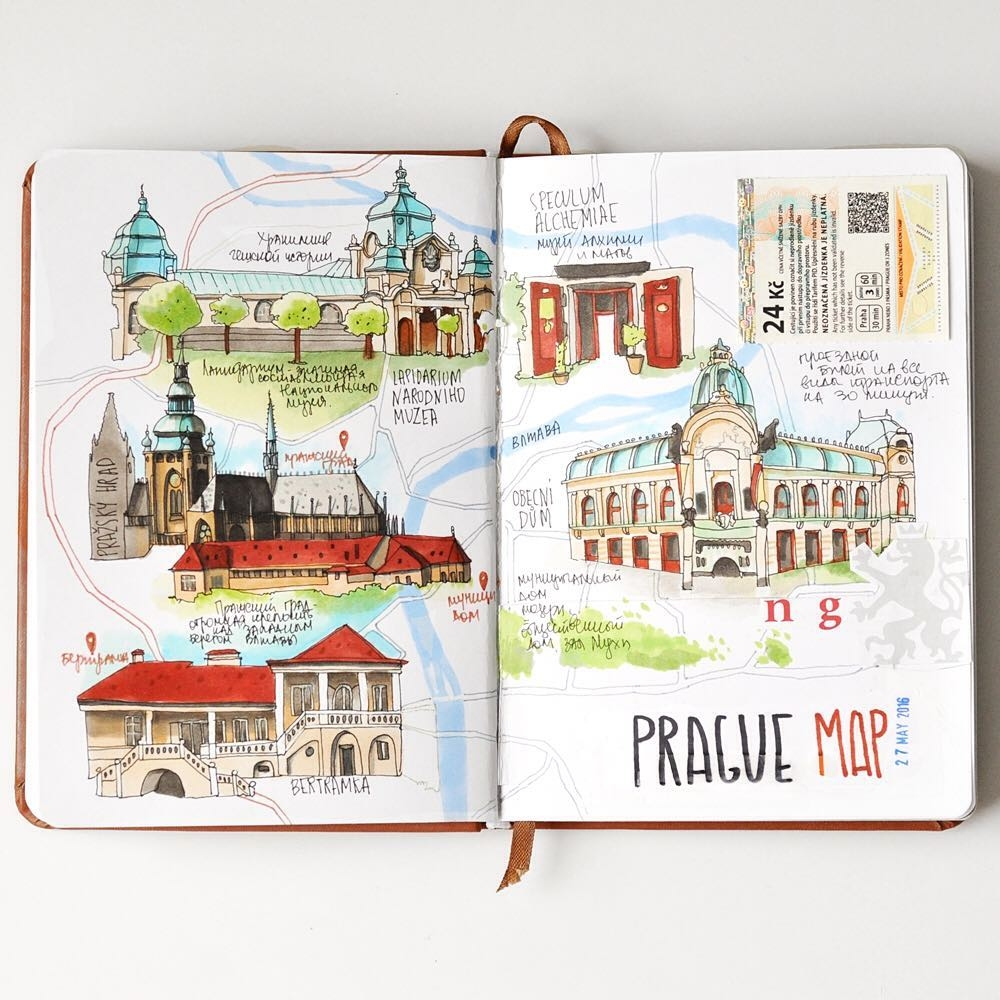 03-Prague-Travel Book-The-Map-Anna-Rastorgueva-Architecture-Travel-Journal-Urban-Sketches-Illustrations-www-designstack-co