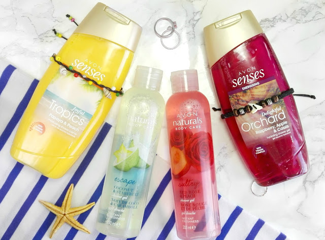 Avon Naturals Coconut & Starfruit Shower Gel and Red Rose & Peach Shower Gel, Avon Senses Energizing Joyful Tropics Papaya & Peach and Delightful Orchard