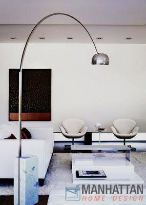 Black Marble Arco Style Floor Lamp Modern