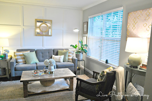 white accent wall with trim