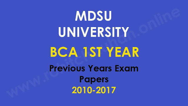 MDSU University BCA 1st Year Previous Years Exam Paper Download 2018