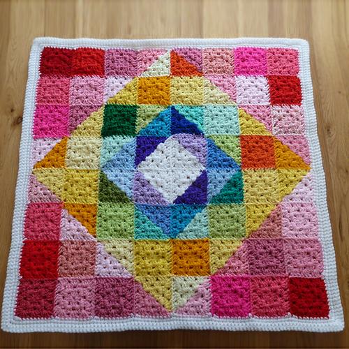 Geometric Rainbow Granny Square Blanket