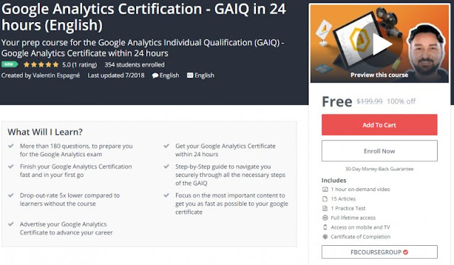 [100% Off] Google Analytics Certification - GAIQ in 24 hours (English)| Worth 199,99$
