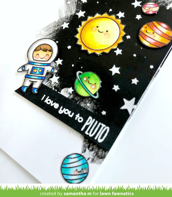 To Pluto and Back Card by Samantha Mann for Lawn Fawnatics Challenge, Lawn Fawn, space, planets, Zig Clean Color Real Brush Markers, #popup #interactive #handmadecard #card# #lawnfawn #gesso