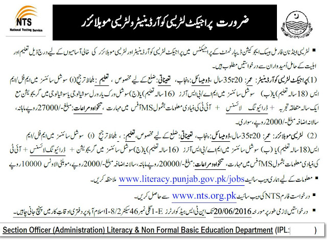 Government Jobs in Pakistan Literacy & Non Formal Basic Education Department Punjab NTS Jobs