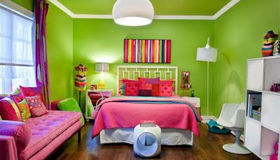 Warna pink dengan hijau
