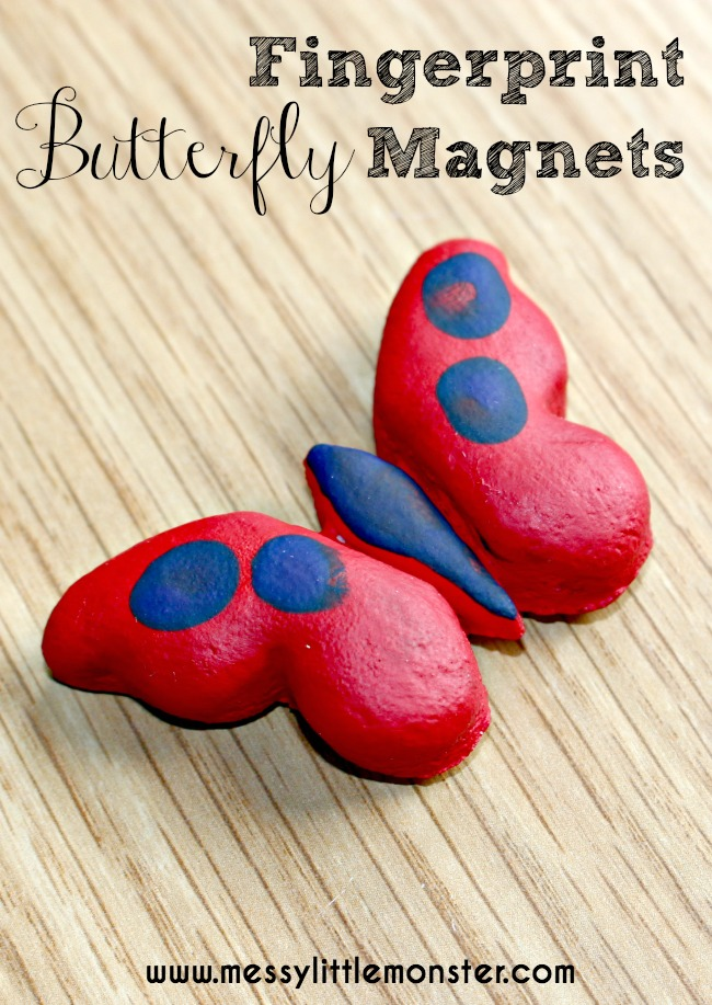 Fingerprint butterfly magnet keepsake.  A simple salt dough craft for kids.  A fun summer or spring activity for toddlers and preschoolers.