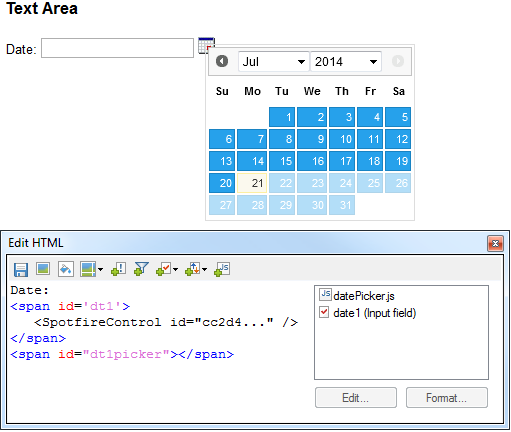 Spotfire Developer: Popup Calendar (WebPlayer compatible)