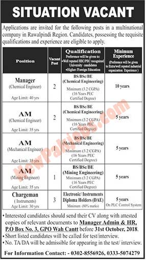 Manager & Chargman Required in Lahore