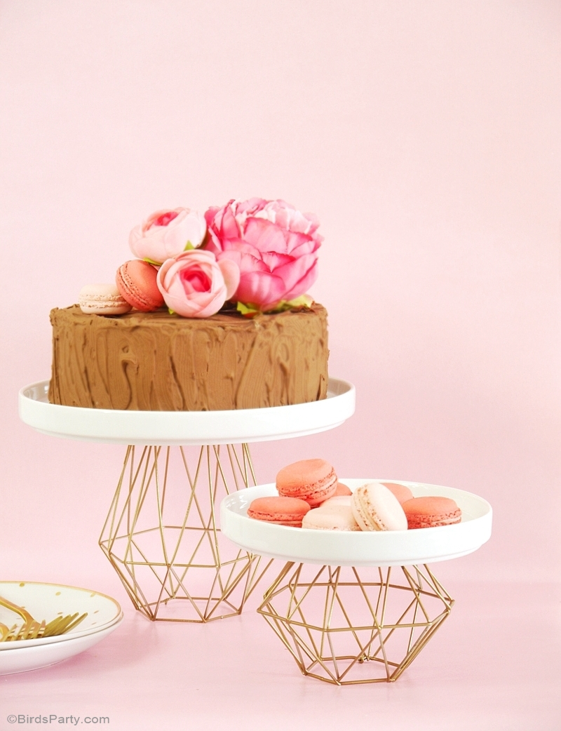 DIY Metallic Gold Geometric Cake Stand