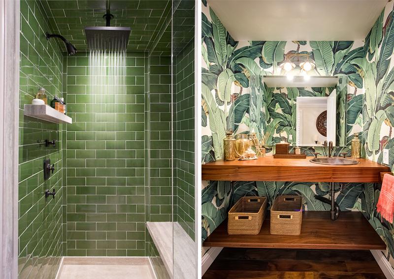 Ispirazioni in stile tropicale per il bagno piastrelle e mobile da bagno