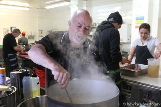 Raymond van Rijk, chef, Vertical Catering, preparing Israeli couscous for this weekend's Livamol Classic Raceday at Hawke's Bay Racing, Hastings Racecourse, Hastings. photograph