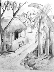pencil drawings sketches drawing sketch simple landscape scenery easy nature realistic village february tutorial landscapes visit painting