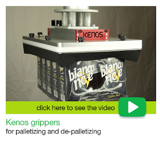 Kenos grippers for palletizing and depalletizing.
