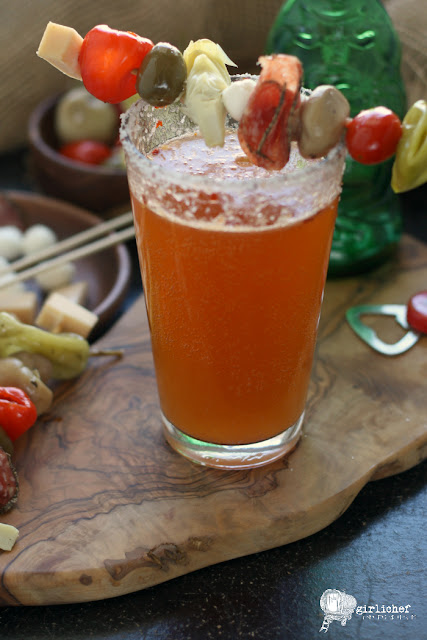 Bloody Beer with Antipasto Kebab Garnish