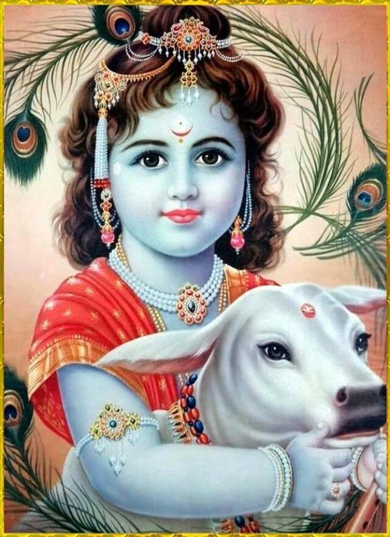 Bhagwan Shri Krishna Picture with Cow
