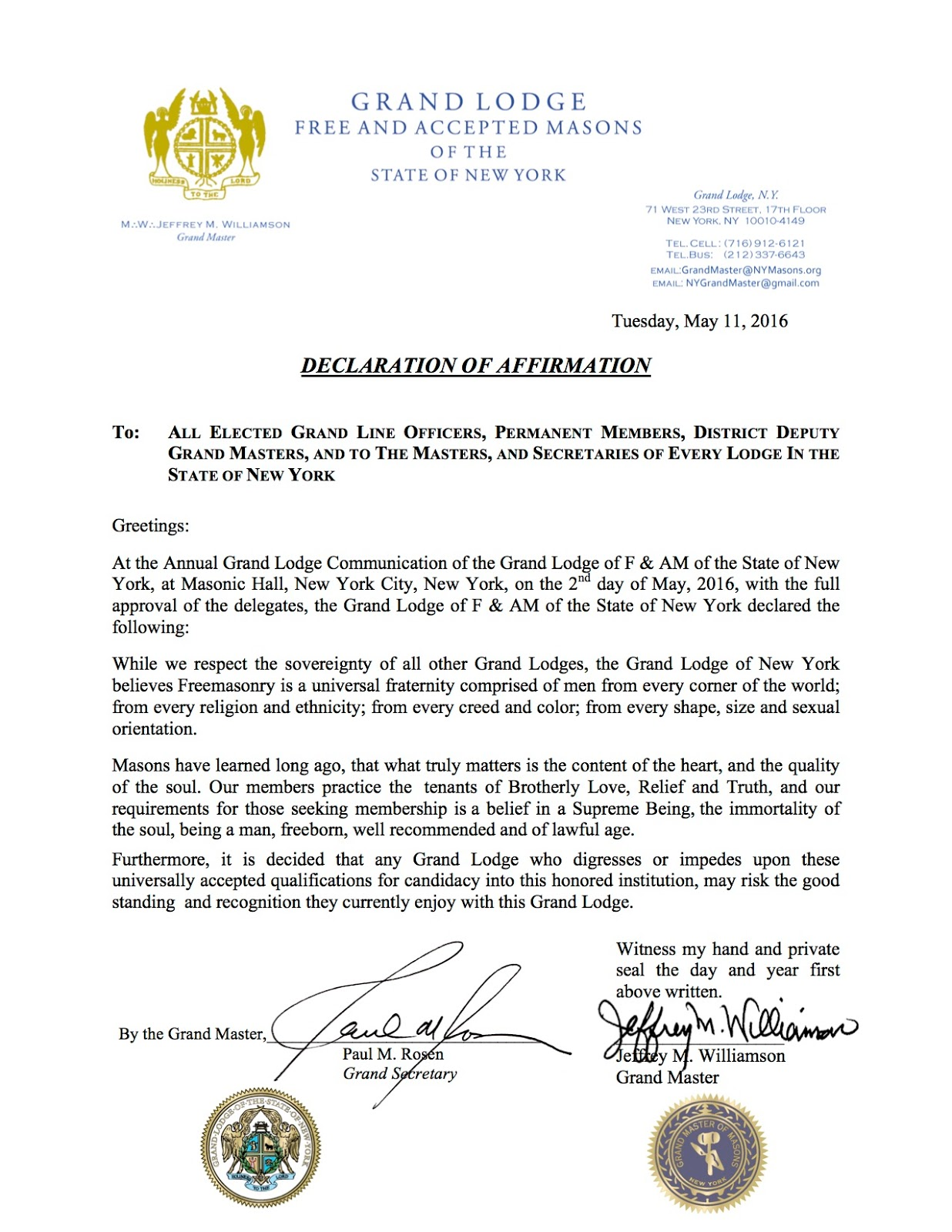 Gl of ny issues statement about ga and tn freemasonry matters a vote was taken at the annual meeting of the grand lodge of new york last week on the question of how to proceed with the situation in georgia and m4hsunfo