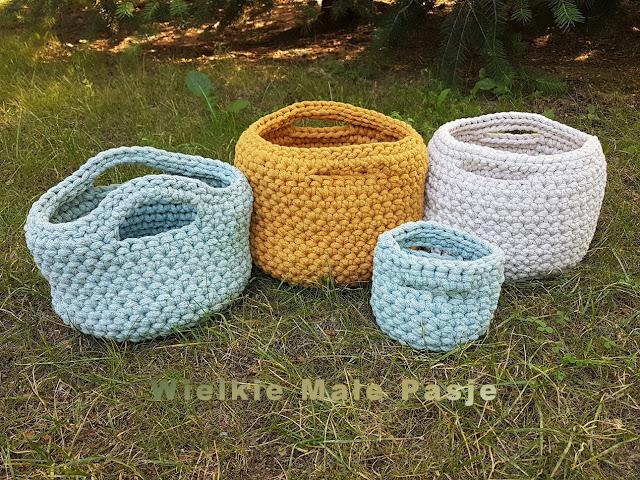szydełko, szydełkowanie, szydełkowe koszyki, koszyki ze sznurka bawełnianego, sznurek bawełniany, relaks w ogrodzie