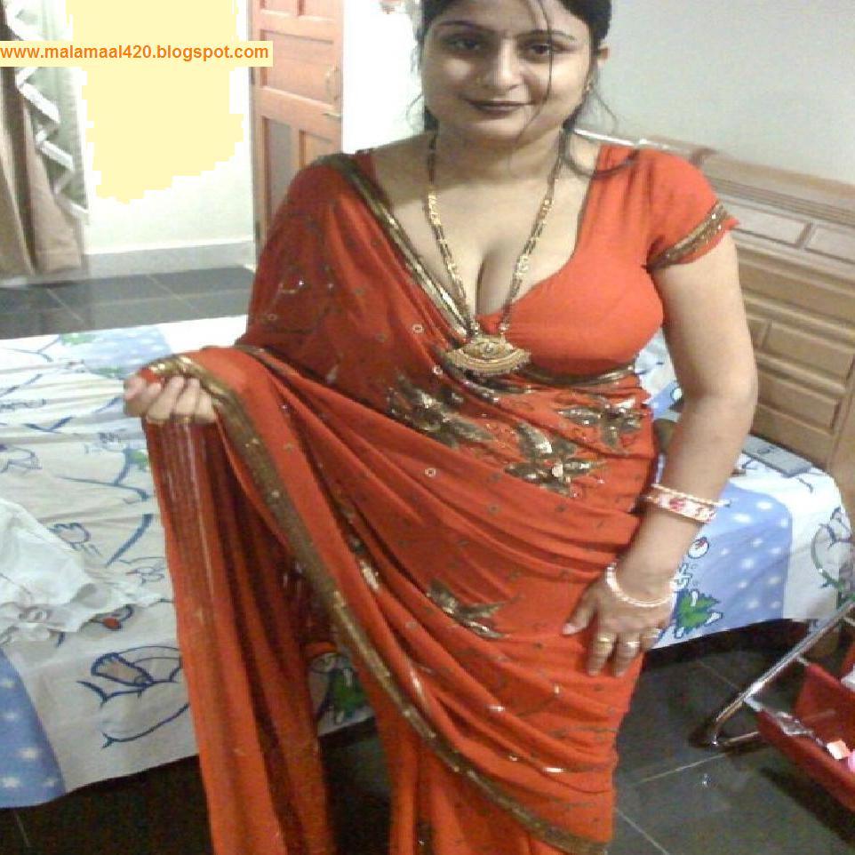 Mallu Aunty In Orange Hot Blouse  Bra Hot Sexy Pictures -7189