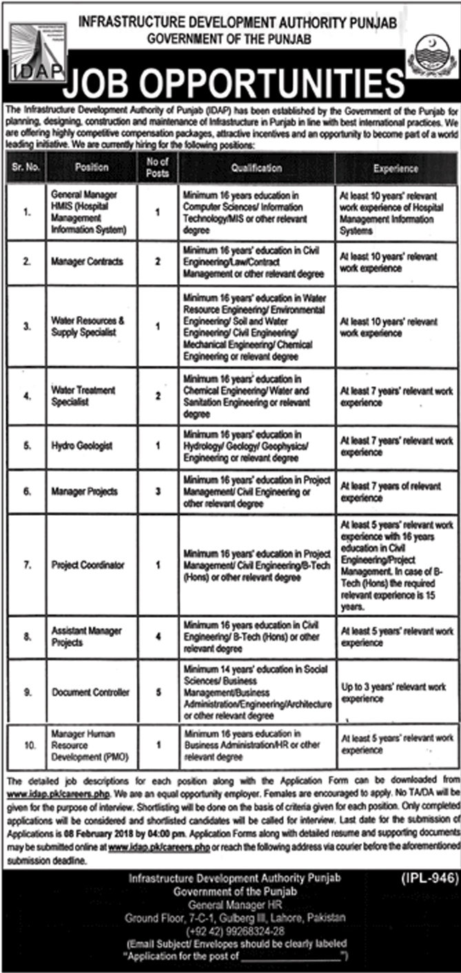Jobs In  Infrastructure Development Authority Punjab Jan 2018