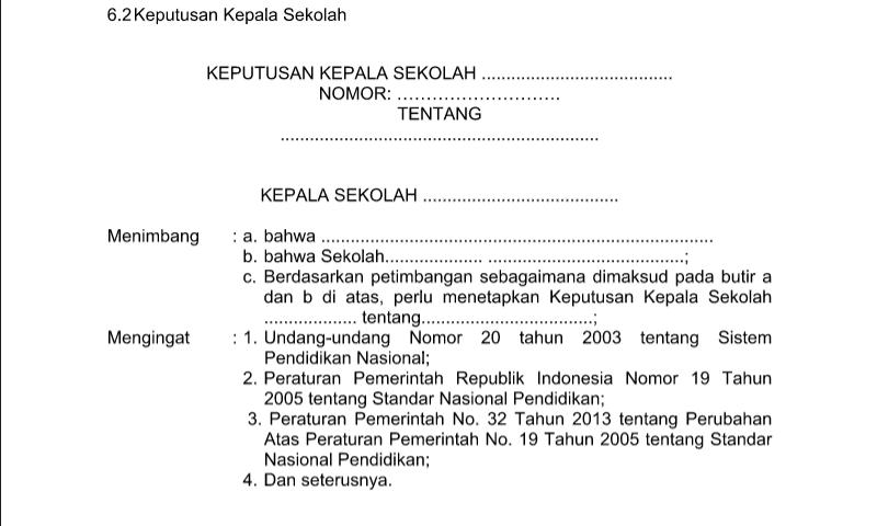 Contoh Format Bentuk Keputusan KEPSEK untuk Perlengkapan Administrasi TU (Tata Usaha) Sekolah