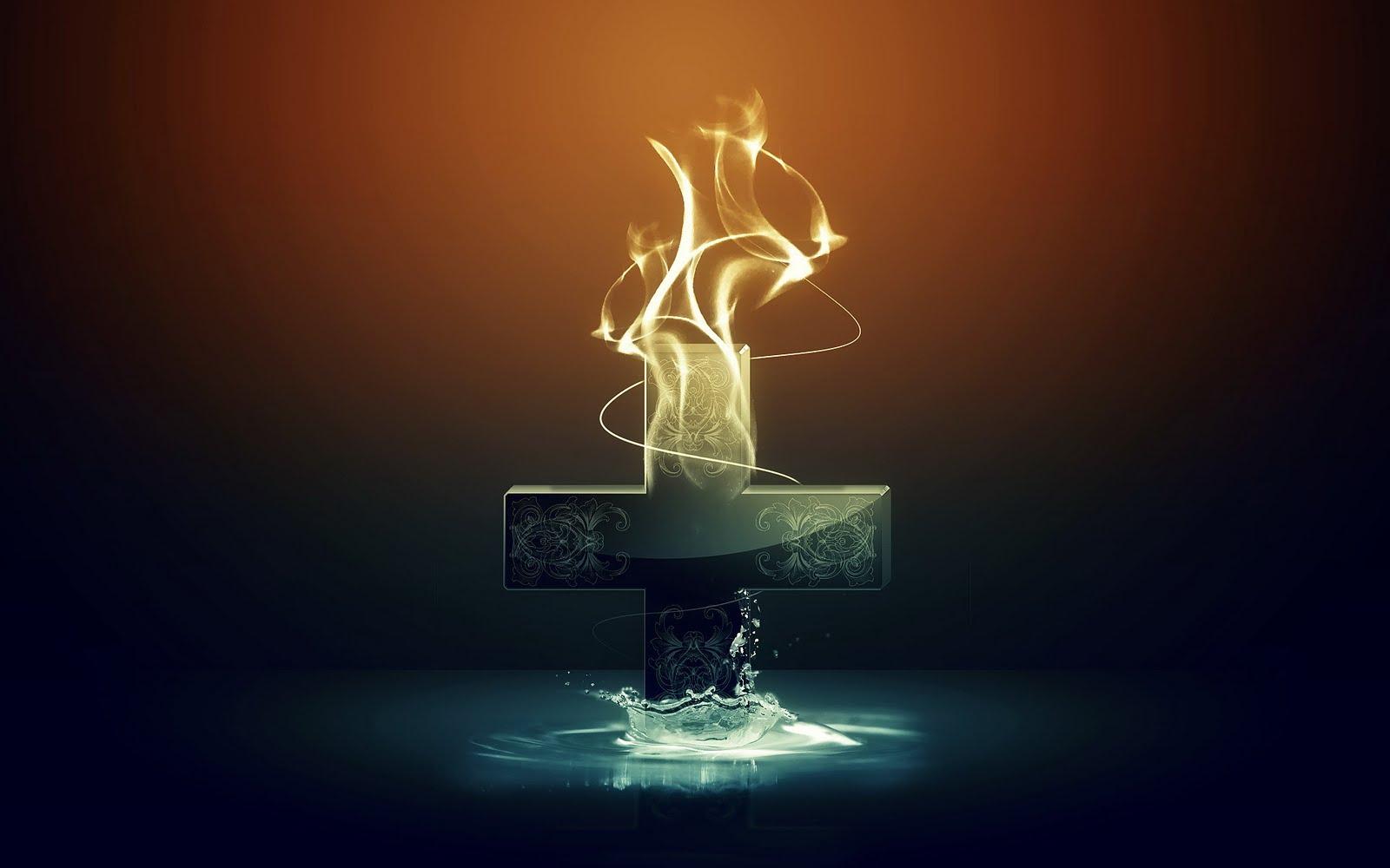 Imagem de Fundo - Cruz em chamas | Imagens de Fundo