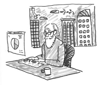 cartoon of a man with a long white beard working at a computer in 2046 with a futuristic skyline. Copyright 2016 by David Borden